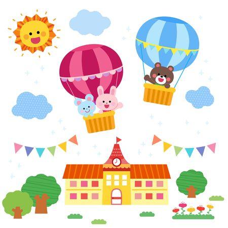 Cute Animals on Balloon Garden Building Vector Illustration