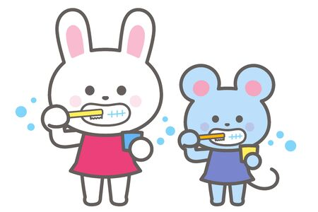Rabbits and rats brushing their teeth