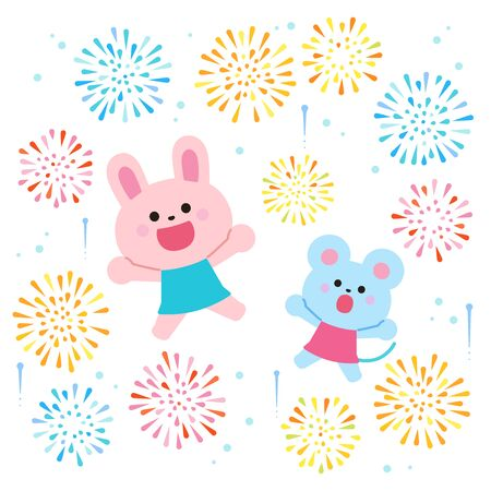Jump with fireworks! Rabbit and mouse white background