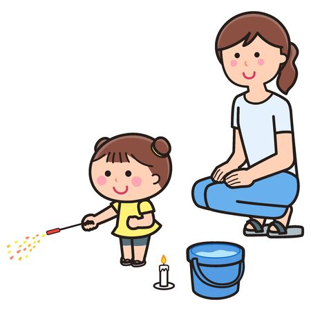 Parents watching with children playing with fireworks Illustration