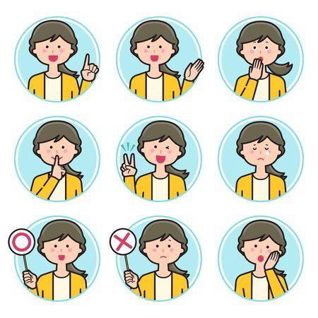Female teacher expression Circle icon Set 2  イラスト・ベクター素材