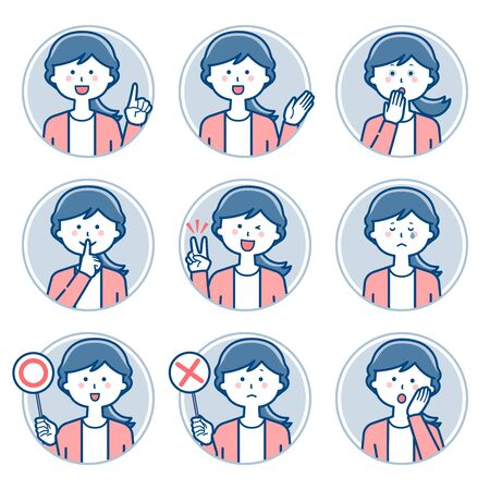 Female teacher expression Circle icon Set 2 / Two colors