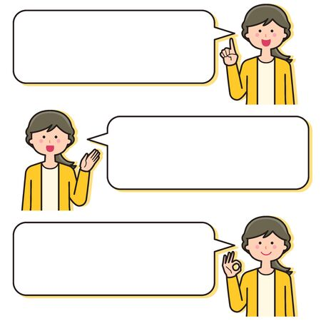 Female teacher Facial expression With speech bubble