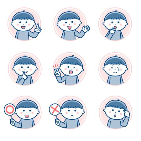 Boy Facial expression Circle icon Variation 2 / Two colors