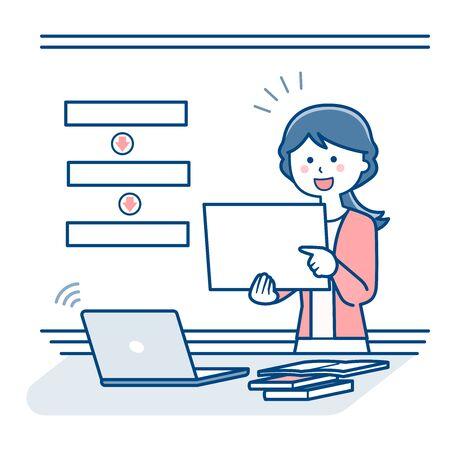 Teacher teaching online using flip / Two colors Illustration