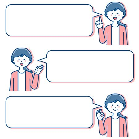 Female teacher Facial expression With speech bubble / Two colors