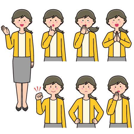 Female teacher upper body expression Set 2