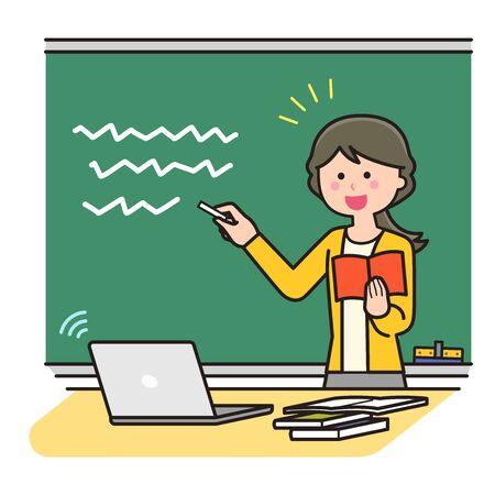 Teacher teaching online using a blackboard