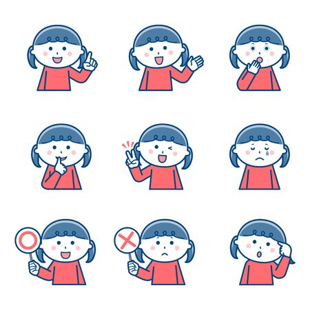 Girl Upper body Facial expression Variation 2 / Two colors