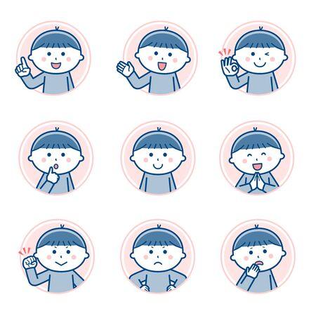 Boy Facial expression Circle icon Variation 1