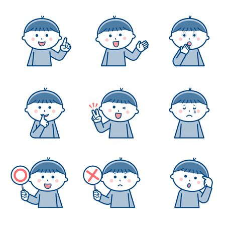 Boy Upper body Facial expression Variation 2 / Two colors Illustration