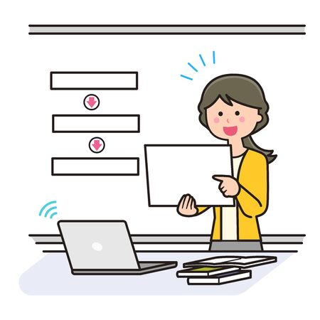 Teacher teaching online using flip