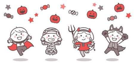Children jumping in Halloween ghost costumes / Two Colors