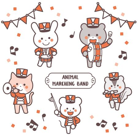 Animal marching band Character Set / Two Colors  イラスト・ベクター素材