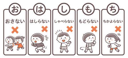 "Evacuation mottoes (read the first letter of the Japanese words as ""O-KA-SHI-MO-NA"") Translation: ""Don't push, don't run, don't talk, don't go back, don't cry."""