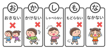 Evacuation mottoes (read the first letter of the Japanese words as