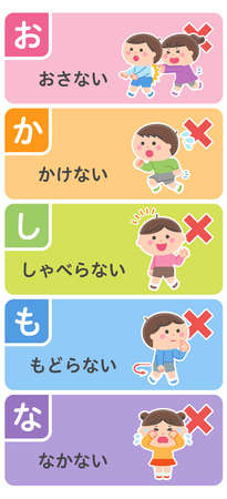 """Evacuation mottoes (read the first letter of the Japanese words as """"O-HA-SHI-MO-CHI"""") Translation: """"Don't push, don't run, don't talk, don't go back, don't go near."""""""