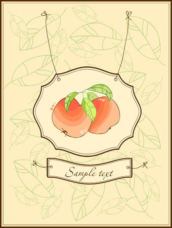 Vintage postcard with apples and leaves Stock Vector - 8794390