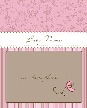 Baby Arrival Card with Photo Frame Stock Vector - 8794391