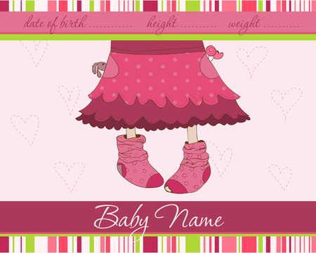 Pink Baby girl arrival announcement card with funny socks Vector