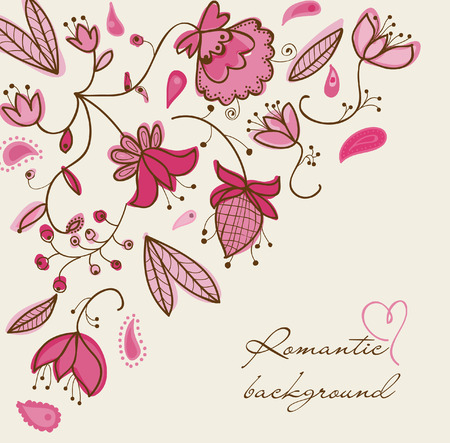 summery: Romantic floral background Illustration