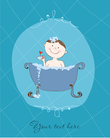 Funny Card - Bath Boy Vector