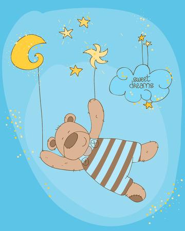 Para dormir de bebé oso lindo tarjeta Ilustración de vector