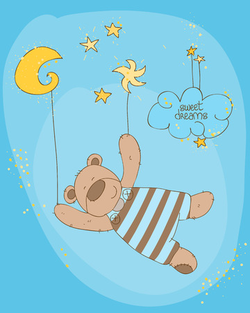 baby bear: Sleeping Baby Bear Cute Card Illustration