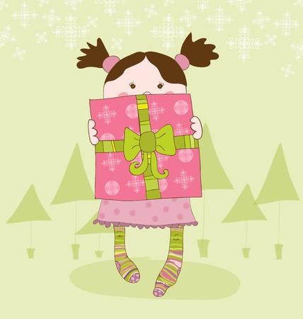 Girl with Present Chrismas Card Vector