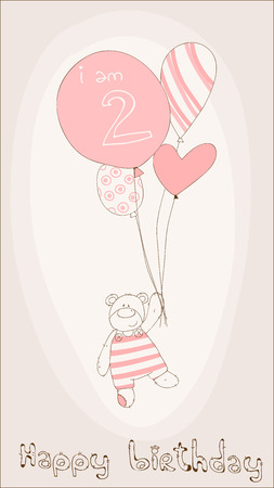 girl birthday: Baby Girl Birthday Card Illustration