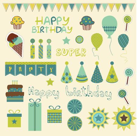 Elementos de celebración de cumpleaños retro  Ilustración de vector