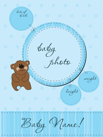 Blue Baby announcement card with Frame Vector