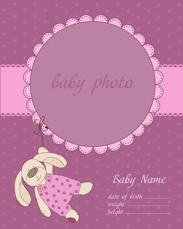 bunny girl: Baby Boy Arrival Card with Frame