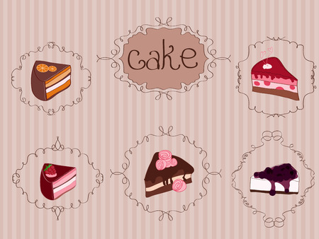 Set of Cakes on Vintage Background with curly frames Vector