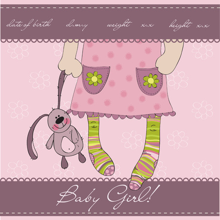 baby girl arrival:  Pink Baby girl arrival announcement card with plush rabbit Illustration