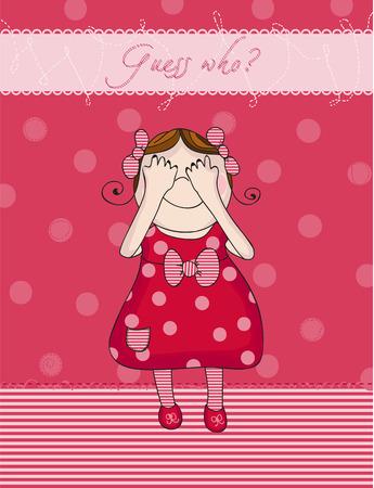girl birthday: Baby Girl birthday card in red