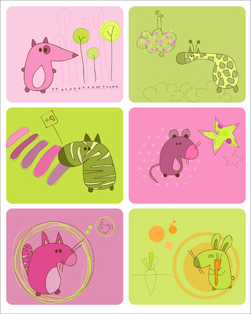Cute Baby Animals Set of Cards Vector
