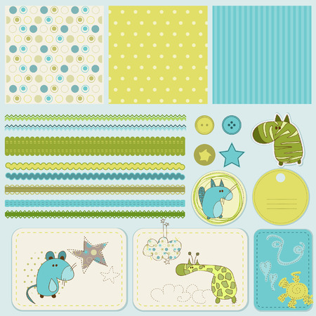 cute cards: Design elements for baby scrapbook  Illustration