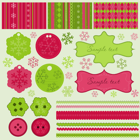 Christmas elements and patterns, vector  Vector