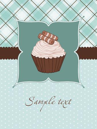 Beautiful Cupcake Card Vector