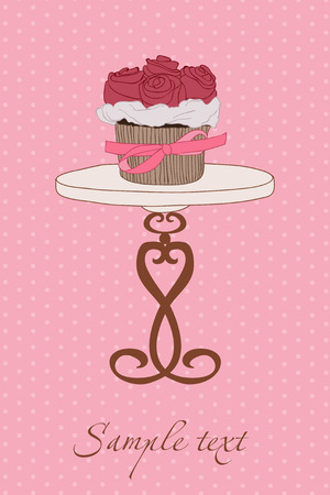 Wedding Invitation with Cupcake Vector