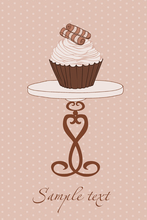 dates fruit: Invitaci�n de boda con Cupcake Vectores
