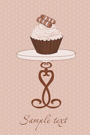 Wedding Invitation with Cupcake Stock Vector - 9044280