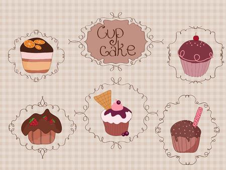 dates fruit: Conjunto de pasteles de Copa vendimia fondo con marcos rizados