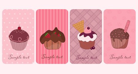 Set of Cupcakes Banners Stock Vector - 9044289
