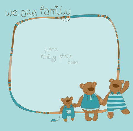 Cute Family Bear Photo Frame Stock Vector - 9044275