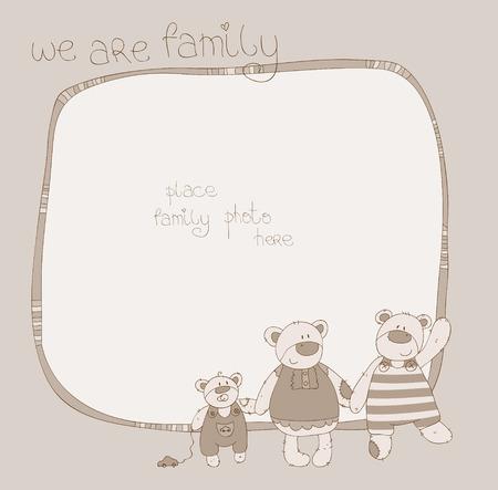 Cute Family Bear Photo Frame in Sepia Vector