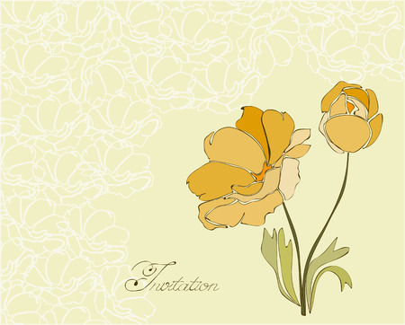 Floral Invitation Postcard in vector Vector