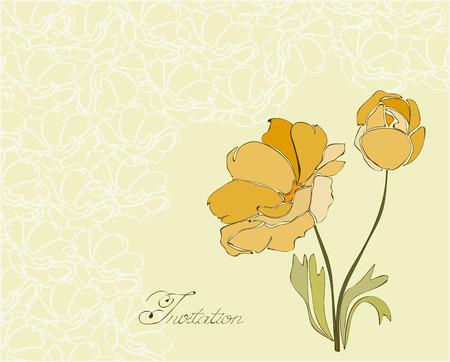 Floral Invitation Postcard in vector Vector