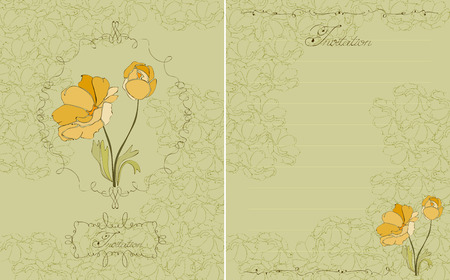 Floral Invitation Green Postcard in vector Vector